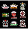 casino poker logo templates set vector image