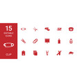 15 clip icons vector image vector image