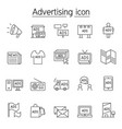 advertising marketing icon set in thin line style