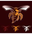 aggressive bee or wasp mascot vector image vector image