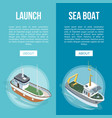boats banners on blue background vector image