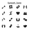 care support and sympathize icon set in glyph vector image vector image
