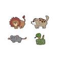 cartoon lion dog rat snake animal vector image vector image