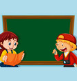 children on chalkboard template vector image vector image