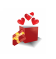 Christmas gift box with hearts vector image vector image