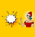christmas pop art sexy white woman smile vector image