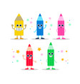 color pencil fun character set for kids or school vector image vector image