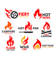 corporate identity fire flame spicy burn icons vector image vector image