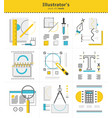 creative graphic s tools to use in work icon set vector image
