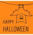 Cute contour bat Happy Halloween card Flat design