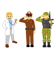 doctor thai police and military career vector image vector image