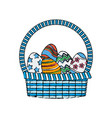 drawing happy easter basket egg decoration image vector image vector image