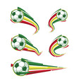 football yellow green red and soccer symbols set vector image vector image