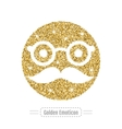 Golden glitter emoticon icon vector image