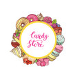 hand drawn colored sweets around circle vector image vector image