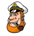Happy cartoon captain or sailor character vector image vector image