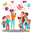 happy children and christmas gifts falling with vector image vector image