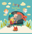 happy couple on a date winter time creative vector image vector image