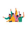 happy diverse teen people group waving hello vector image vector image