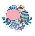 happy easter day decorative colored eggs vector image