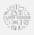 i love design round linear vector image vector image