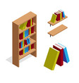 isometric bookcase and bookshelf with books vector image vector image