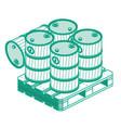 isometric outline oil barrels on wooden pallet vector image
