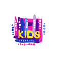 kids creative colorful logo design template hand vector image vector image