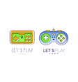 lets play logo design templates set game console vector image