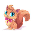 little cute cartoon fluffy kitten vector image vector image