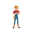 male farmer standing with folded hands cartoon vector image