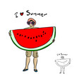 man with sunglasses holding big water melon vector image vector image