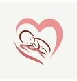 newborn baby lying on the hand symbol childbirth vector image