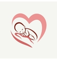 Newborn balying on hand symbol childbirth