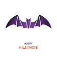 origami greeting card with bat for halloween vector image vector image