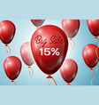 red balloons with an inscription big sale fifteen vector image vector image