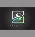 s letter logo design with square swoosh border vector image