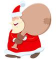 santa claus cartoon character with sack gifts vector image
