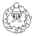 santa face wreath balls merry christmas thick line vector image vector image