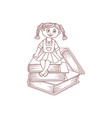 schoolgirl sits on books cartoon character vector image vector image
