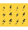 Set of lightnings over yellow background vector image vector image