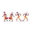 set of male worker in orange wear walking vector image