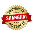 shanghai 3d gold badge with red ribbon vector image vector image