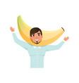 smiling man character in banana fruit headwear vector image vector image
