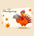 thanksgiving turkey holding domed tray vector image vector image