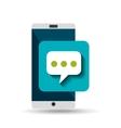 white smartphone bubble speech network digital vector image