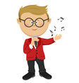 cute nerd little boy sings with a microphone vector image