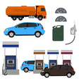 Petrol station set design Flat with cars Fuel vector image