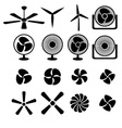 Set of fans and propellers icons vector image