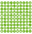 100 internet marketing icons hexagon green vector image vector image